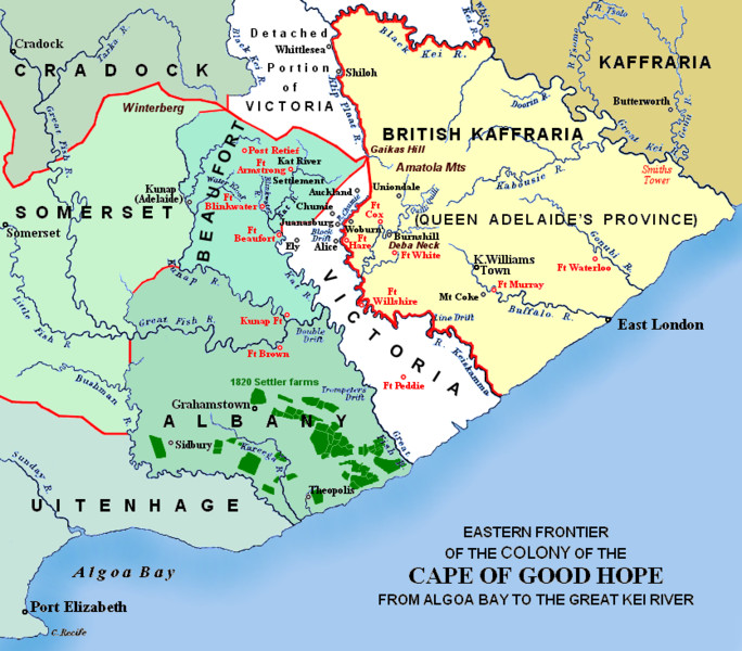 File:Eastern Frontier, Cape of Good Hope, ca 1835.png ... on mount kilimanjaro map, boulders beach, strait of magellan map, vasco da gama, cape horn, mediterranean sea map, strait of hormuz, drakensberg mountains map, horn of africa map, mount kilimanjaro, strait of gibraltar map, indian ocean map, mossel bay, caribbean sea map, congo basin map, ferdinand magellan, cape agulhas, peru map, lake victoria map, strait of malacca, bering strait, bartolomeu dias, atlas mountains map, world map, cape of africa, suez canal, namib desert map, cape hope south america, red sea map, robben island, gulf of guinea map, cape peninsula, cape town, strait of magellan, madagascar map, castle of good hope, great rift valley map, cape point,