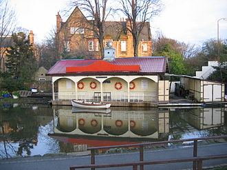 Union Canal (Scotland) - Boathouse where the canal passes near Shandon and Polwarth