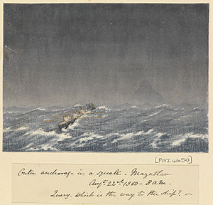 """Edward Gennys Fanshawe, Outer anchorage in a squall, Mazatlan (Mexico), Augt 22nd 1850, 8.am. """"Query, which is the way to the ship?"""".jpg"""
