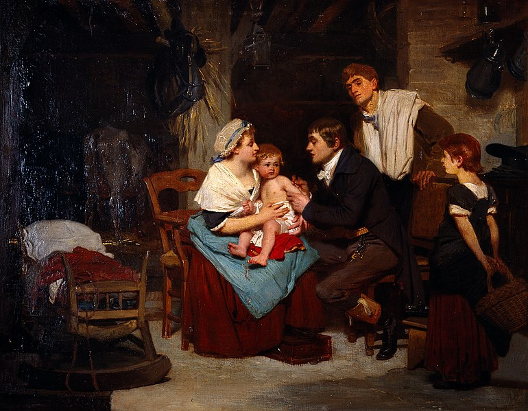 File:Edward Jenner vaccinating a boy. Oil painting by E.-E. Hille Wellcome L0029093.jpg