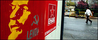 Communist Party of the Basque Homelands - Election poster of EHAK-PCTV with a painted portrait of the communist leader Lenin.