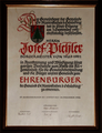 Ehrenbürgerurkunde Josef Pichler 1992.png