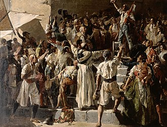 Valencians prepare to resist the invaders in this 1884 painting by Joaquin Sorolla El Crit del Palleter.jpg