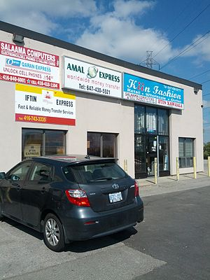Somali Canadians - Electronic, money transfer and wholesale stores at a Somali mall in Toronto