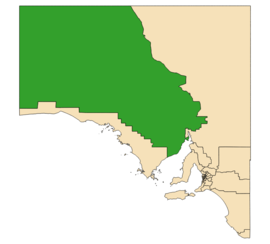 Map of South Australia with electoral district of Giles highlighted
