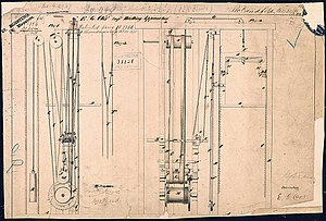 Elisha Otis' elevator patent drawing, 15 January 1861.