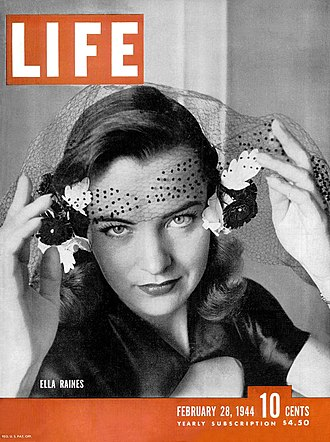 Ella Raines - Raines on the cover of Life magazine (February 28, 1944)