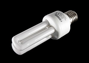 Modern fluorescent light bulb with E27 thread ...