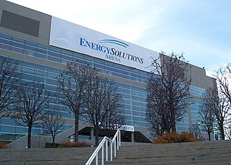 Naming rights - The same arena was renamed EnergySolutions Arena (now Vivint Smart Home Arena) in late 2006. Temporary signage covered up the previous Delta Center logo after the new naming rights sponsor was announced.