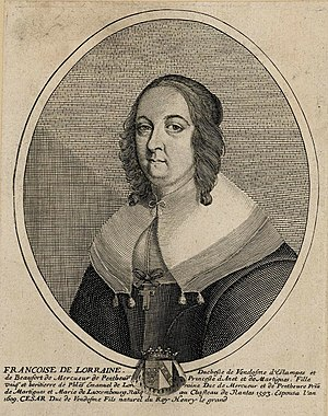 Françoise de Lorraine, Duchess of Vendôme - Engraving of Françoise while a widow