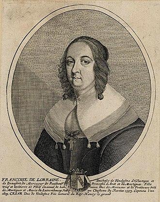 Françoise de Lorraine, Duchess of Vendôme - Engraving of Françoise while a widow