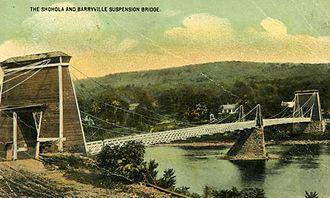 Barryville–Shohola Bridge - Image: Entire span of 1856 Shohola Suspension