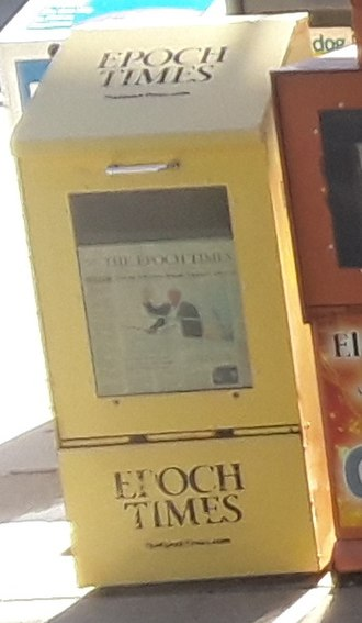 The Epoch Times - The Epoch Times dispenser at Huntington metro station, near Washington, D.C.