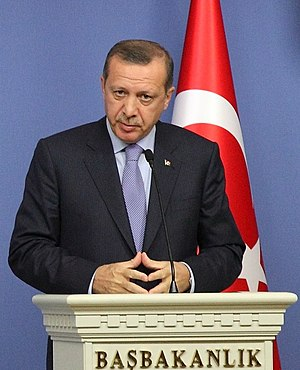 Recep Tayyip Erdoğan - Erdoğan making a press release at the Prime Minister's Office in Ankara