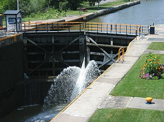 Erie Canal - Upstream view of the downstream lock at Lock 32, Pittsford, New York.