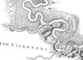 Esseg (Össeg), Buginovitz, Erdut, Bucovar in Danubius Pannonico-Mysicus 1726 by Marsigli.png