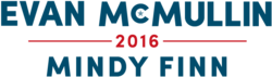 "McMullin's campaign logo, with the name ""EVAN MCMULLIN"" in large blue letters on top, the number ""2016"" breaking a red horizontal line in the middle, and the name ""MINDY FINN"" in smaller blue letters on bottom"
