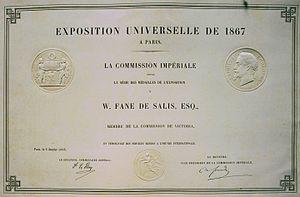 William Andrew Salius Fane de Salis - William's was the commissioner of Victoria's stand at the Paris 1867 exhibition.