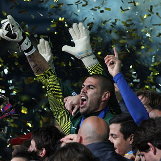 2011 FIFA Club World Cup Final - Barcelona celebrating their win.
