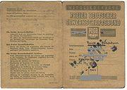 FDGB-Mitgliedskarte von 1948 Aussenseiten