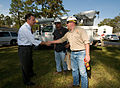 FEMA - 39403 - FEMA Administrator Paulison shakes hands with a utility worker in Texas.jpg