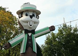 Minnesota State Fair - The State Fair Gopher 'Fairchild' greets fairgoers.