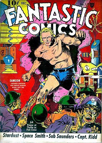 Comic book - A common comic-book cover format displays the issue number, date, price and publisher along with an illustration and cover copy that may include a story's title.