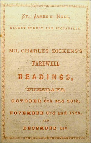 St James's Hall - 1868 Program book for the series of Dickens readings
