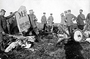 Robert Ritter von Greim - The remains of the first aircraft shot down by Greim