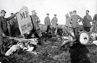 Robert Ritter von Greim - The remains of the first aircraft shot down by Greim 10 October 1915. The Pilot and observer of Escadrille MF 63 were killed.