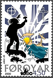 Faroese stamp commerating the arrival of Christianity in the islands