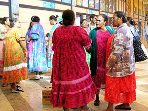 "Kanak women in ""mission dresses"", New Caledonia"