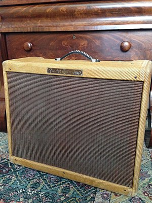 "Fender Twin - 1955 Twin-Amp, model 5E8. Dual rectifiers and 6L6 power tubes, twin 12"" speakers."