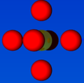 Figure illustrating the coordination number = 6 for 2nd nearest neighbour atom in FCC.png