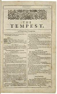 Faksimiler af første side i The Tempest fra First Folio, publiceret i 1623