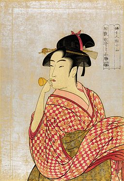 Flickr - …trialsanderrors - Utamaro, Young lady blowing on a poppin, 1790