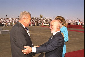 Ezer Weizman - Image: Flickr Government Press Office (GPO) Pres. Ezer Weizman and Jordan's King Hussein