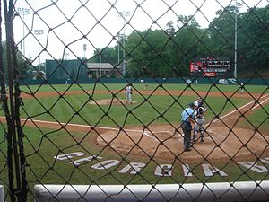 Georgia Bulldogs and Lady Bulldogs - A view of Foley Field from behind the dugout at the University of Georgia