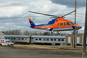 """Foleyet - Ontario Ministry of Health air ambulance helicopter at the scene of the """"Foleyet emergency quarantine"""""""