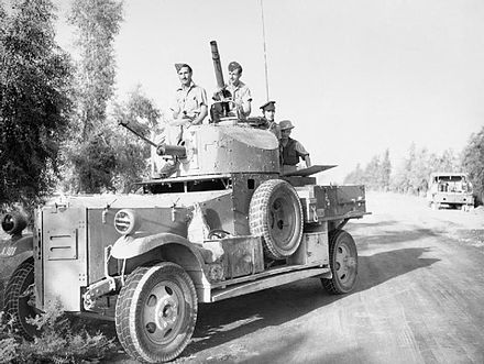 An RAF Fordson Armoured Car waits outside Baghdad while negotiations for an armistice take place Fordson Armoured Car Iraq.jpg