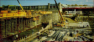 Forest Hills (MBTA station) - Construction of the new station in 1985, with the old station behind