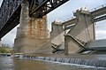 Fourteenth Street Bridge pier and upper gates of McAlpine Dam, 1998, Ohio River mile 605 (98k059).jpg