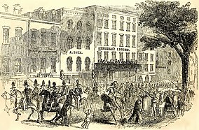 Engraving showing a Fourth of July procession passing Brougham's Lyceum