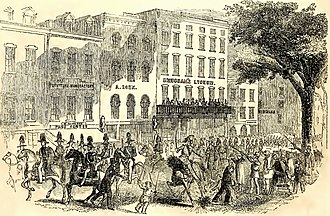 Wallack's Theatre - Image: Fourth of July Procession Passing Brougham's Lyceum, Broadway, New York jpg version