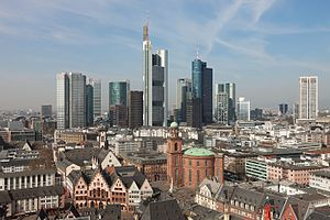 Banking in Germany - Bankenviertel in Frankfurt – the Frankfurt Stock Exchange, many corporate headquarters of large German banks and representation offices of foreign banks are located there