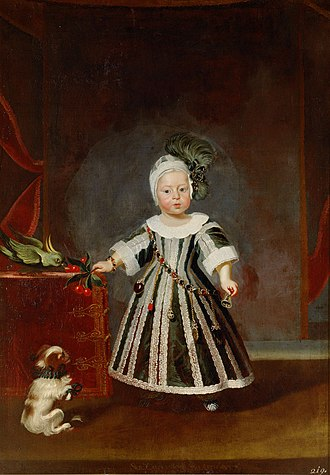 Frans Luycx - Archduke Karl Joseph with puppies and cockatoo at the age of one and a half