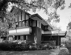 Richard Nickel - Frederick B Carter, Jr. House, in Evanston, by architect Walter Burley Griffin in the Prairie School style (1910). 1967 HABS image by Richard Nickel.