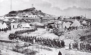 Agadir Crisis - A column of French troops on the move in a tented encampment in Morocco, 30 March 1912.