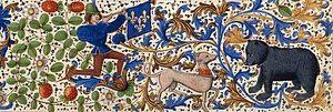 Froissart of Louis of Gruuthuse (BnF Fr 2643-6) - A detail from the margin of a page