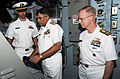 From left, U.S. Navy Lt. Marc Hines shows Pakistani Navy Chief of Naval Staff Adm. M. Asif Sandila and U.S. Navy Rear Adm. Daryl Caudle helm operations on the bridge of the aircraft carrier USS George H.W. Bush 130918-N-MU440-005.jpg